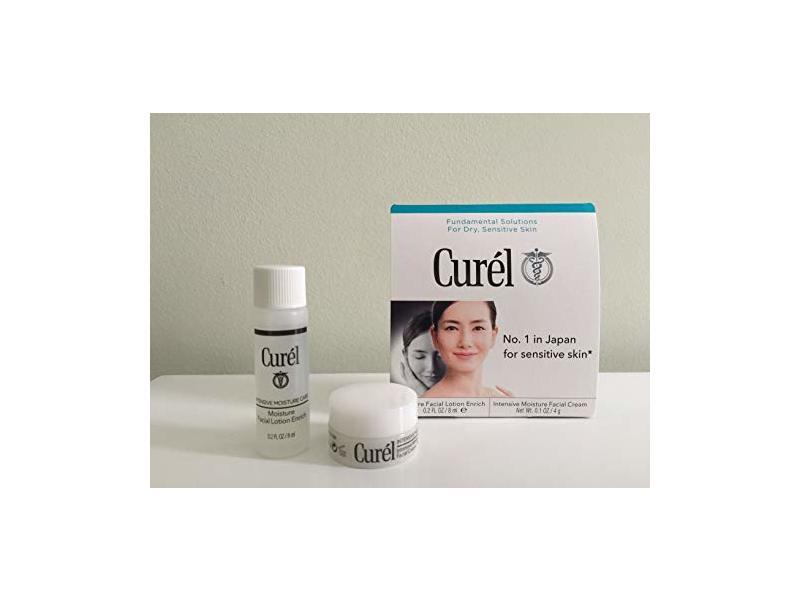 Curel Moisture Facial Lotion Enrich + Intensive Moisture Facial Cream, Enrich Set, 0.8 oz