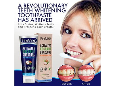 Fine Vine Activated Coconut Charcoal Toothpaste, Mint, 4 oz - Image 6