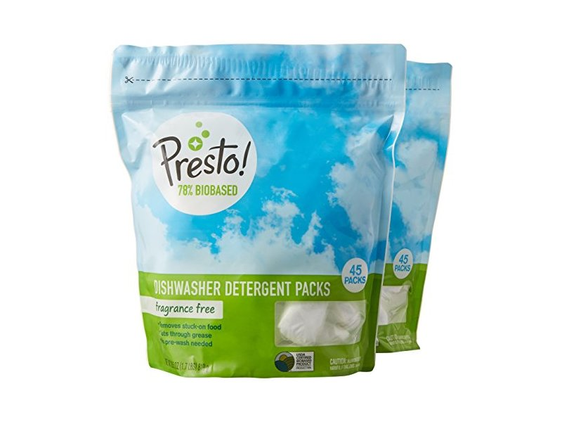 Presto! 78% Biobased Dishwasher Detergent Packs, 90 count, Fragrance Free (2 pack, 45 ct each)