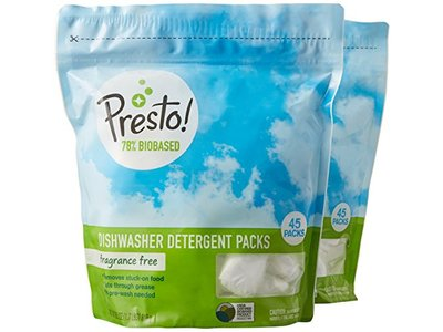 Presto! 78% Biobased Dishwasher Detergent Packs, 90 count, Fragrance Free (2 pack, 45 ct each) - Image 1