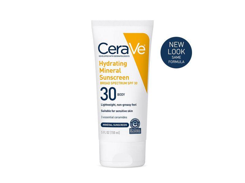 CeraVe Hydrating Mineral Sunscreen SPF30 Body Lotion, 5 fl oz (150 mL)