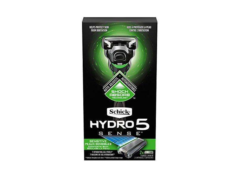 Schick Hydro Sense Sensitive Razors with Shock Absorbent Technology, 1 Razor Handle and 2 Razor Blades Refills