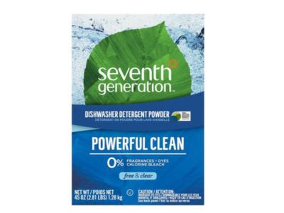 Seventh Generation Dishwasher Detergent Powder, Free & Clear, 45 oz/1.28 kg
