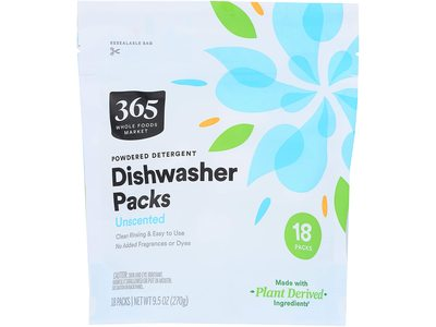365 Whole Foods Market Diswasher Powered Detergent Packs, Unscented, 9.5 oz/270 g, 18 Ct