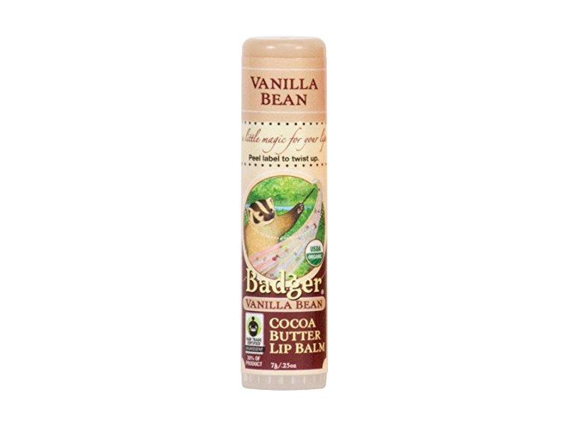 Badger Vanilla Bean Cocoa Butter Lip Balm, .25 oz
