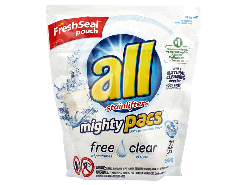 All Mighty Pacs Laundry Detergent, Free & Clear, 22 pack