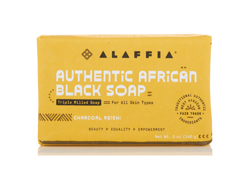 Alaffia Authentic African Black Soap, Charcoal Reishi, Triple Milled, 5 oz/140 g, Pack Of 3