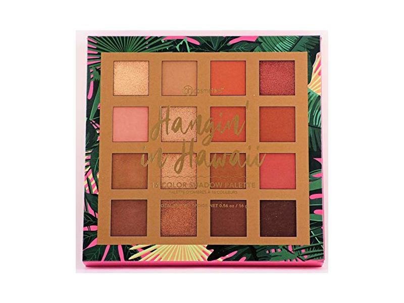 BH Cosmetics 16 Color Eyeshadow Palette, Hangin' In Hawaii, 0.56 oz