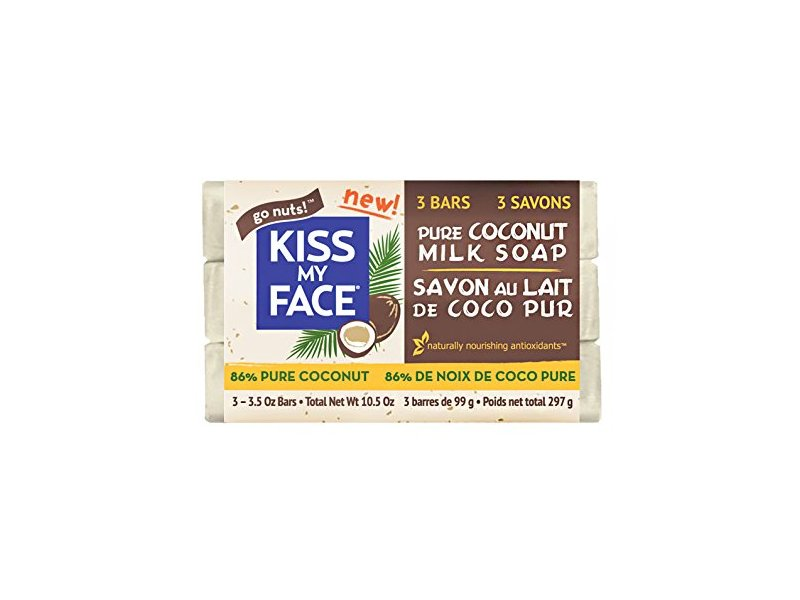 Kiss My Face Pure Coconut Milk Soap Bar with Coconut Oil, 3.5 Ounce, 3 Pack