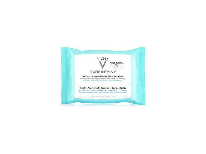 Vichy, Purete Thermale 3-in-1 Micellar Cleansing Wipes, Waterproof Makeup Remover