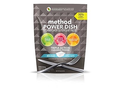 Method Naturally Derived Power Dish Dishwasher Detergent Packs, Free + Clear, 45 Count