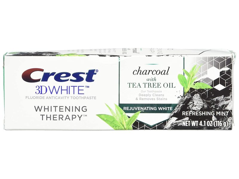 Crest 3D White Whitening Therapy Toothpaste, Charcoal & Tea Tree Oil, 4 fl oz/116 g