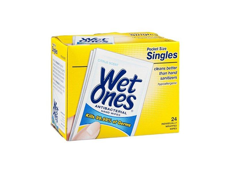 Wet Ones Antibacterial Hand Wipes Pocket Size Singles Citrus Scent, 24 CT