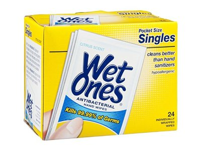 Wet Ones Antibacterial Hand Wipes Pocket Size Singles Citrus Scent, 24 CT