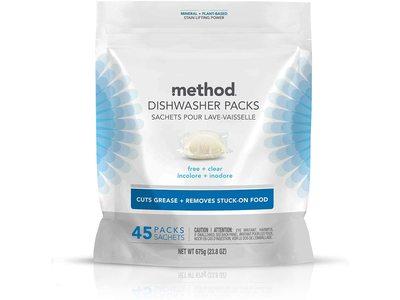 Method Dishwasher Packs, Free+Clear, 675 g/23.8 oz, 45 Count