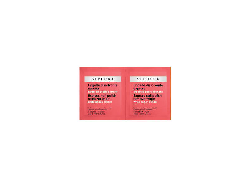 Sephora Collection Express Nail Polish Remover Wipes, White Peach Extract, 20 wipes