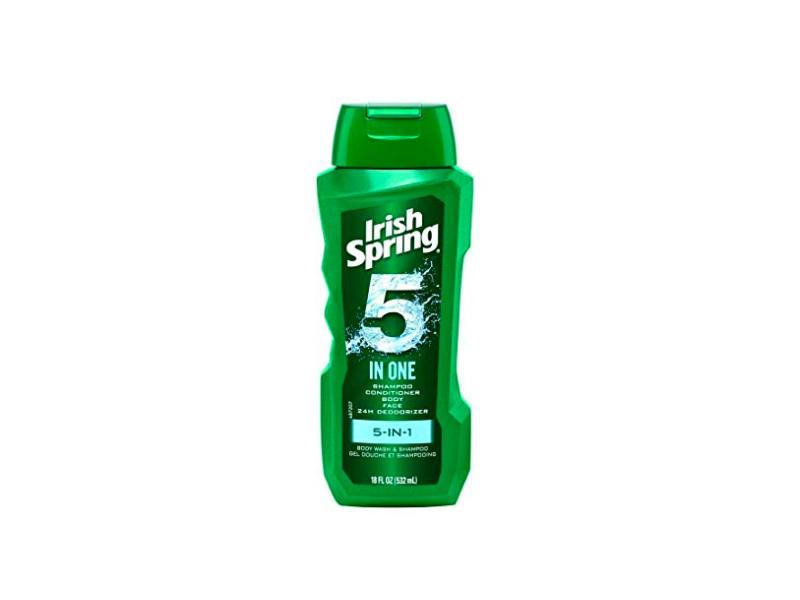 Irish Spring 5-in-1 Shampoo, Conditioner, Body Wash, Face Wash, & Deodorizer, 18 oz