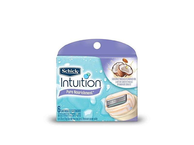 Schick Intuition Pure Nourishment Moisturizing Razor Blade Refills for Women with Coconut Milk and Almond Oil, 6 Count