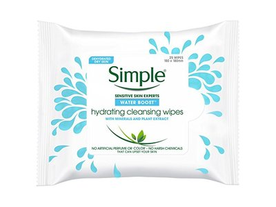Simple Water Boost Hydrating Cleansing Wipes, 25 ct