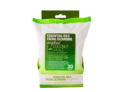 Essential Oils & Co. Detoxifying Facial Cleansing Makeup Remover Wipes with Coconut and Kale, 60 count