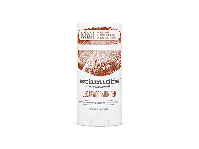 Schmidt's Deodorant Stick, Cedarwood + Juniper, 3.25 Ounce