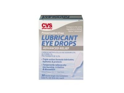 CVS Health Advanced Relief Enhanced Lubricant Eye Drops, Preservative Free, 30 ct