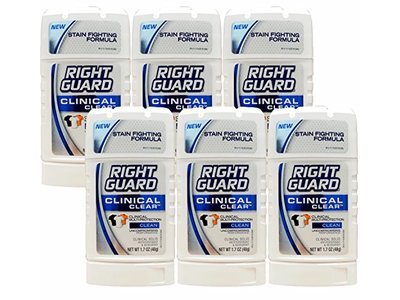 Right Guard Clinical Clear Solid Antiperspirant and Deodorant, Clean Scent ,1.7 Ounces (Pack of 6)
