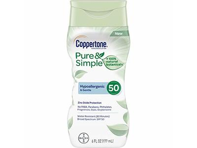 Coppertone Pure & Simple Adult SPF 50 Sunscreen Lotion, 6 fl oz