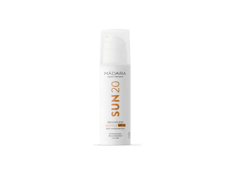 Madara Cosmetics SPF 20 Sunscreen, Weightless Sun Milk, 150 mL