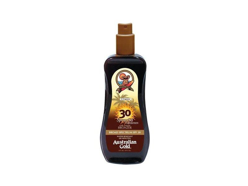 Australian Gold SPF 30 Spray Gel Sunscreen with Instant Bronzer, 8 Fl Oz