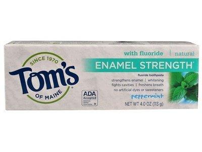 Tom's of Maine Enamel Strength Fluoride Toothpaste, Peppermint, 4 oz