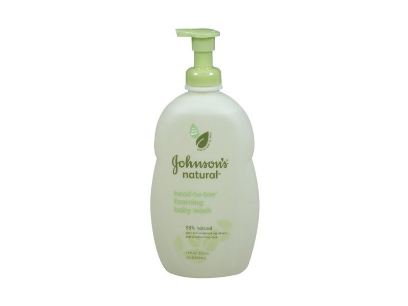 Johnson's Natural Head-to-Toe Foaming Baby Wash, 18-Ounce