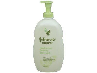 Johnson's Natural Head-to-Toe Foaming Baby Wash, 18-Ounce - Image 1