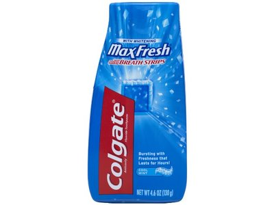 Colgate Max Fresh Liquid Toothpaste with Mini Breath Strips, Cool Mint, 4.6-Ounce Tubes (Pack of 6)