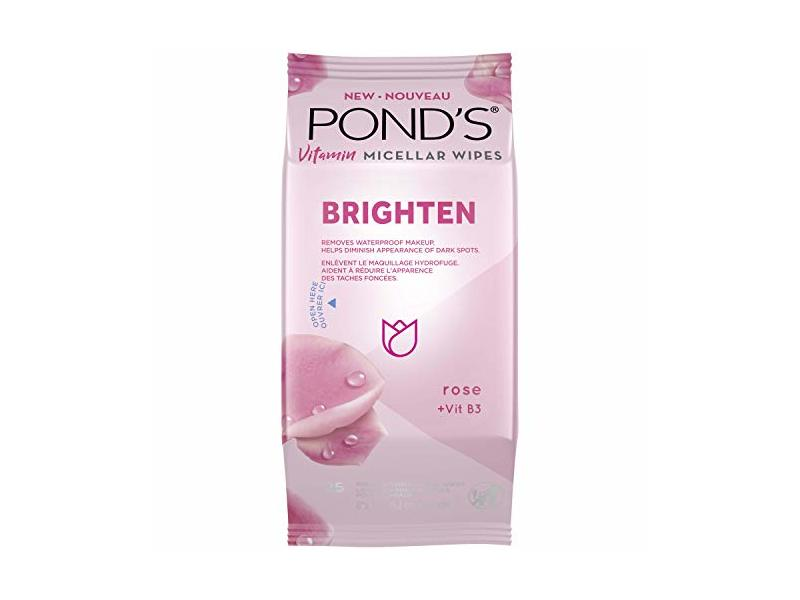 Pond's Vitamin Micellar Wipes Brighten, Rose+Vit B3, 25 Wipes