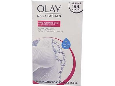 Olay 4-in-1 Daily Facial Cloths Wipes for Pink, Normal Skin, 99 Count