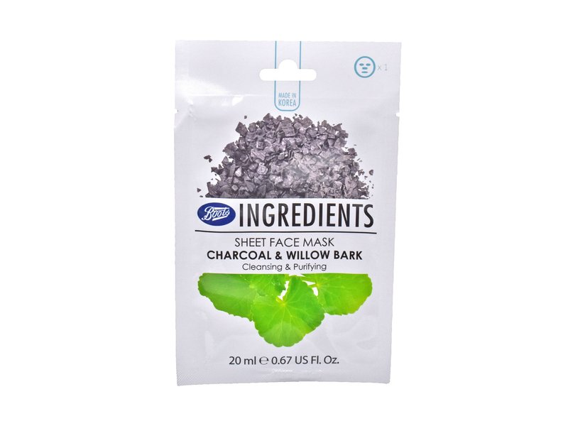 Boots Ingredients Sheet Face Mask, Charcoal & Willow Bark, 1 mask