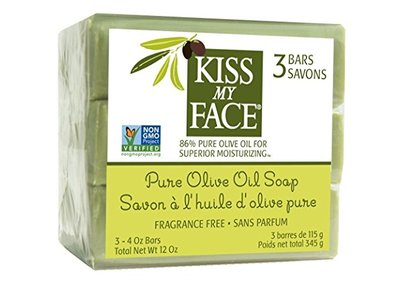 Kiss My Face Naked Pure Olive Oil Bar Soap, 4 Ounce, 3 Count (3 Pack)(Packaging may vary)
