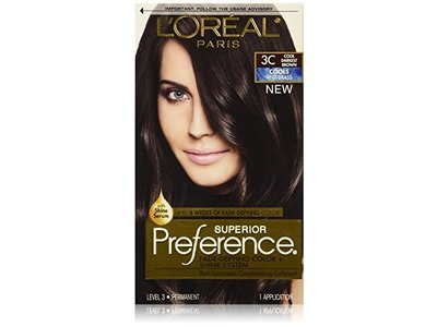 L'Oreal Superior Preference Hair Color, 3C Darkest Brown