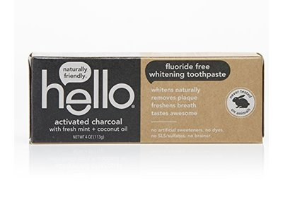 Hello Activated Charcoal Whitening Toothpaste, Fluoride Free, Fresh Mint + Coconut Oil, 4 oz/113 g