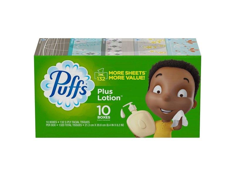 Puffs Plus Lotion, 10 boxes