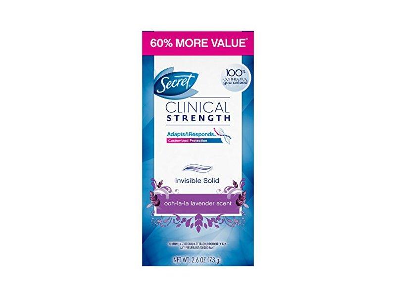 Secret Clinical Strength Deodorant and Antiperspirant for Women, Invisible Solid, Ooh La La Lavender, 2.6 oz