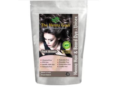 The Henna Guys Henna Hair & Beard Dye - Unisex, Dark Brown, 150 g