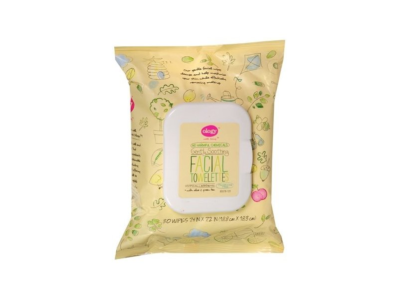 Ology Gently Soothing Facial Towelettes with Aloe & Green Tea, 30ct