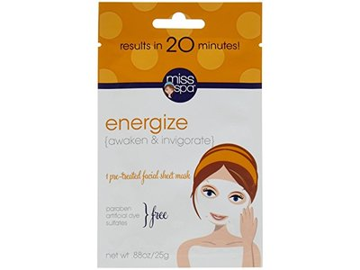 Miss Spa Energize Facial Sheet Mask, 0.88 Ounce