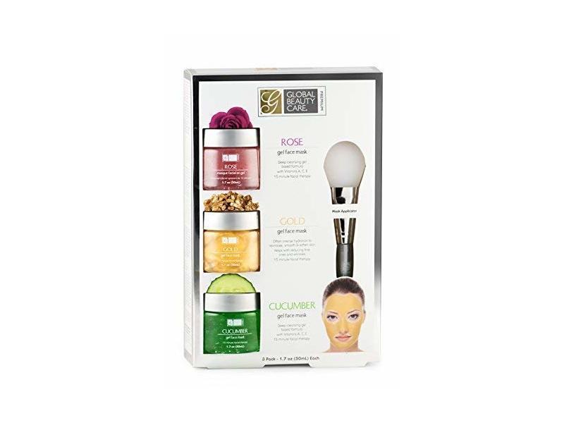 SPAscriptions Rose, Gold, Cucumber Gel Face Masks, 1.7 oz