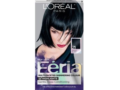 L'oreal Paris Feria Multi-Faceted Shimmering Colour, 21 Bright Black
