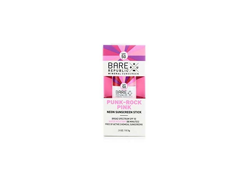Bare Republic Mineral SPF 50 Neon Color Stick, Punk Rock Pink (.30 oz)