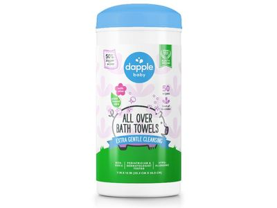 Dapple Baby Extra Gentle Cleansing Head-To-Toe Wipes, 50 ct