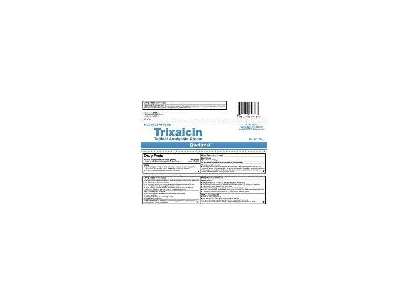 Trixaicin Topical Analgesic Cream 0.025% (RX), 3x60 Gm Tubes, Qualitest